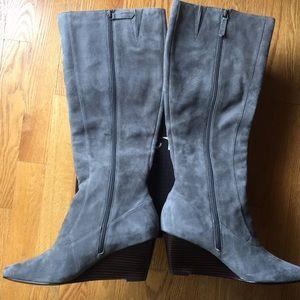Cole Haan Grey Suede Boots NWOT Wedge Heel Size 10